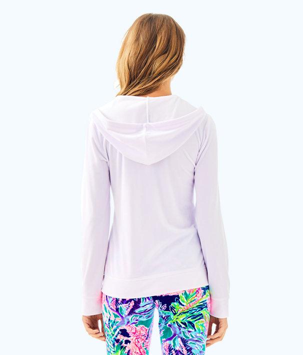 Larina Solid Velour Zip Up Hoodie, Resort White, large