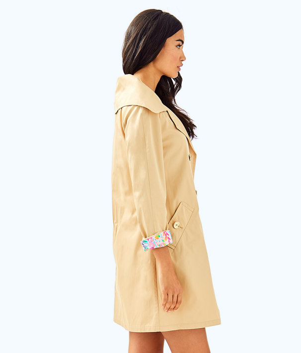 Qynn Trench Coat, Gold, large