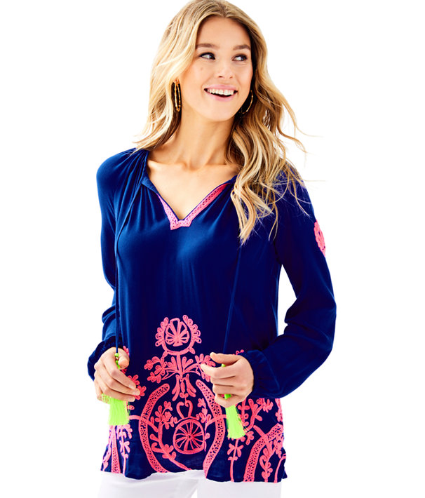 Willa Embroidered Top, , large