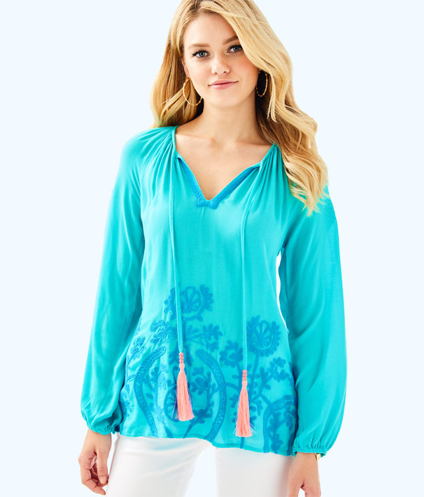 Willa Embroidered Top, Seaside Aqua, large