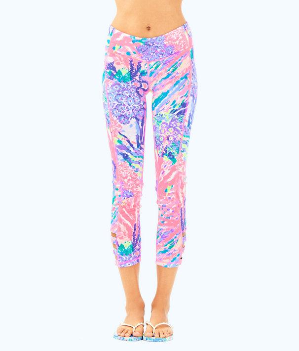 """UPF 50+ Luxletic 21"""" Weekender Cropped Legging, Multi Rainbow Soleil, large"""