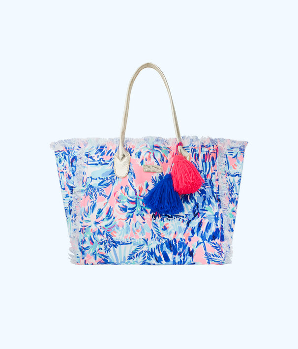Gypset Frayed Beach Tote Bag, Multi Cabana Cocktail Accessories, large