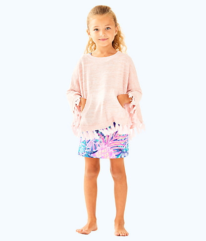Girls Hani Poncho Sweater, Paradise Tint Metallic, large