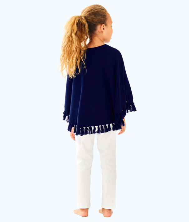 Girls Hani Poncho Sweater, True Navy, large
