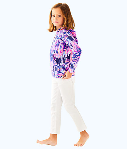 Girls Little Hooded Skipper Popover, Bright Navy Palms Up Reduced, large