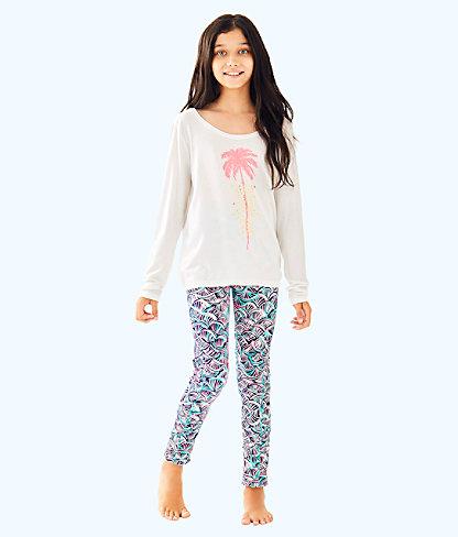 UPF 50+ Luxletic Girls Mini Weekender Legging, Bright Navy Neptunes Net, large