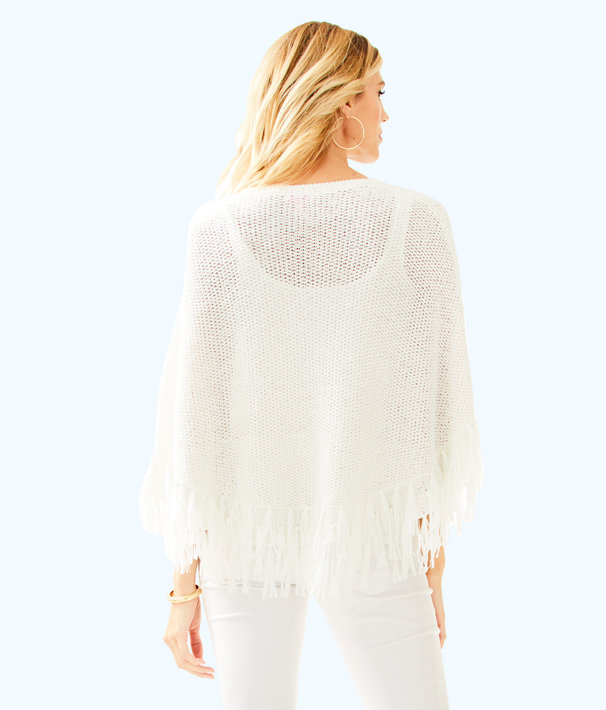 Val Poncho Sweater, Resort White, large