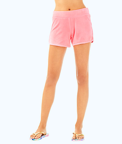 "4"" Robyn Solid Velour Lounge Short, Pascha Pink, large"