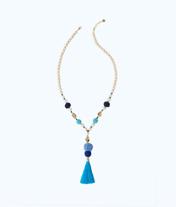 Tropical Punch Tassel Necklace, Capri Teal, large