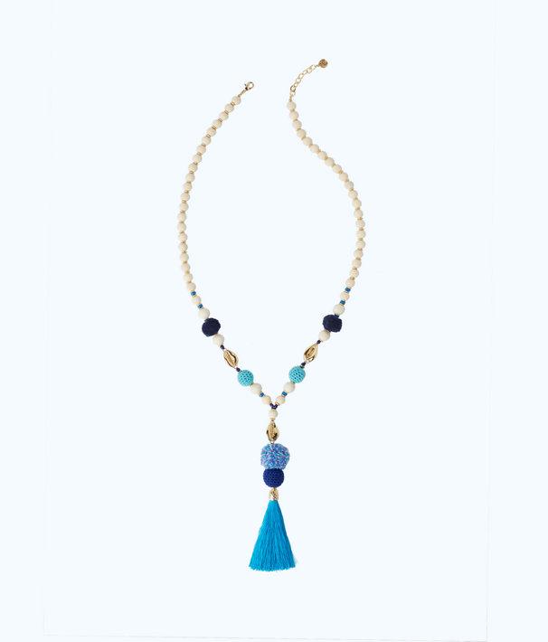Tropical Punch Tassel Necklace, Capri Teal, large