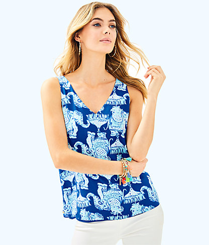 Florin Reversible Sleeveless V-Neck Tank, Deep Indigo Joy Ride, large