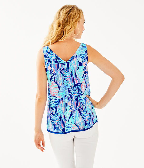 Florin Reversible Sleeveless V-Neck Tank, Twilight Blue Scale Up, large