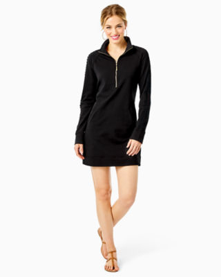 Skipper Solid Popover Dress, Onyx, large