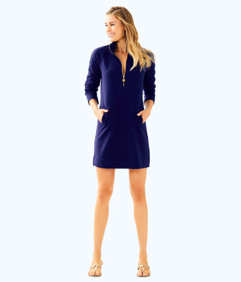 Skipper Solid Popover Dress, True Navy, large