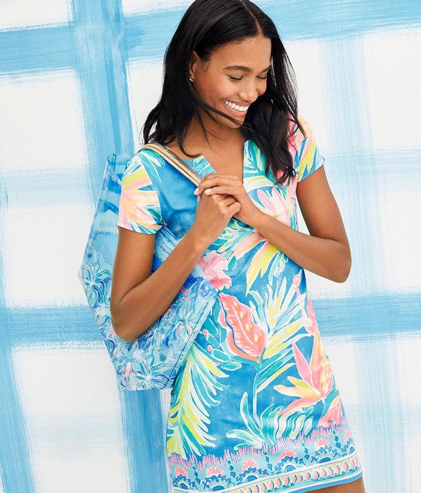 UPF 50+ Sophiletta Dress, Bennet Blue Showstopper Engineered Dress, large