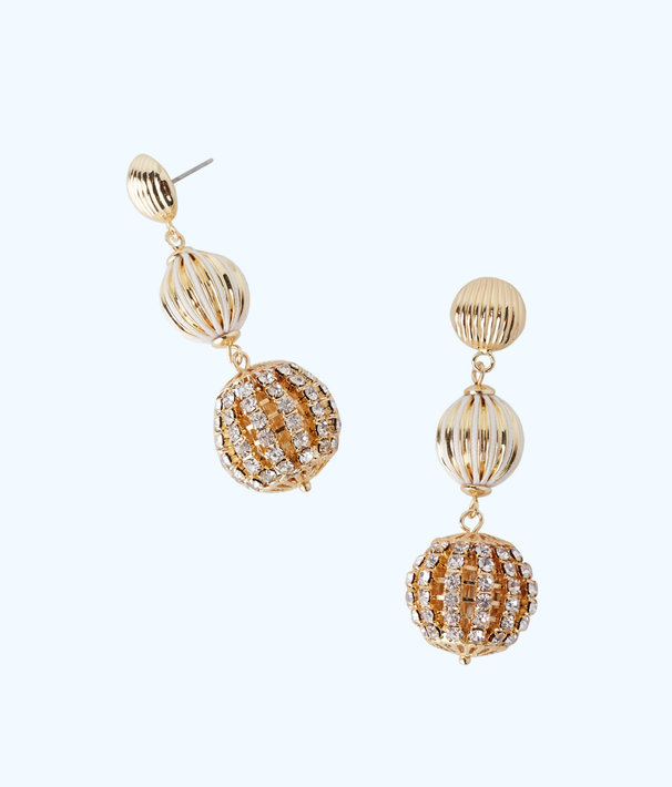 Starburst Drop Earrings, Gold Metallic, large