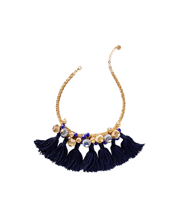 Starburst Cluster Necklace, True Navy, large