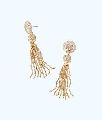 Sand Dune Tassel Earrings, Gold Metallic, large