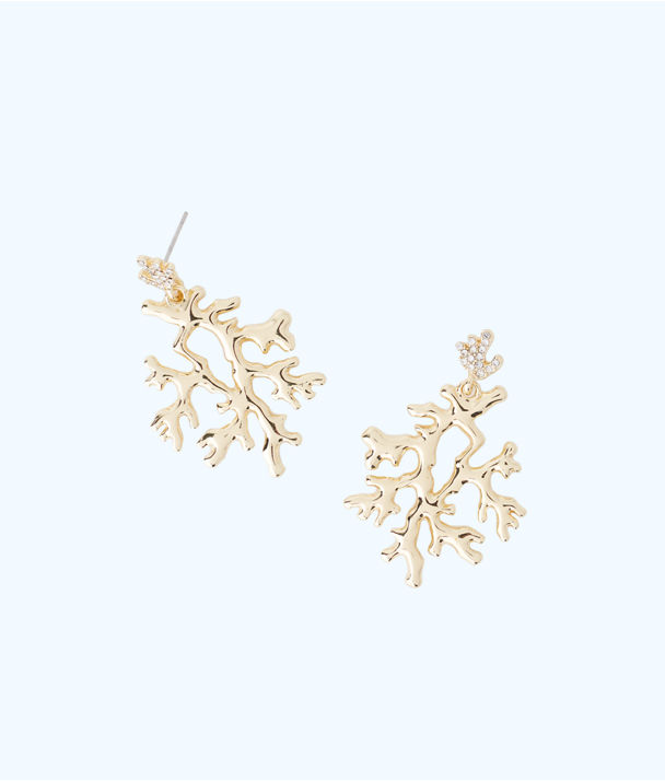 Coral Reef Earrings, Gold Metallic, large