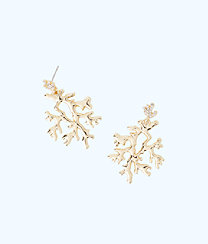 Coral Reef Earrings, Gold Metallic, large