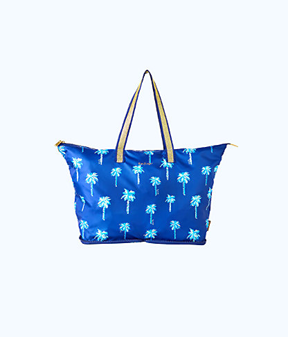 Getaway Packable Tote Bag, Accessory Navy Sunset Safari Palms Accessories, large