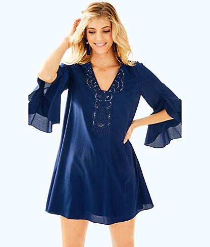 Tatiana Stretch Silk Tunic Dress, , large