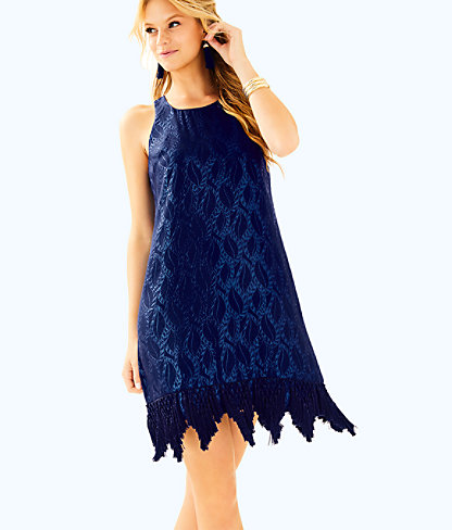 Marquette Shift Dress, True Navy Silk Leaf Jacquard, large