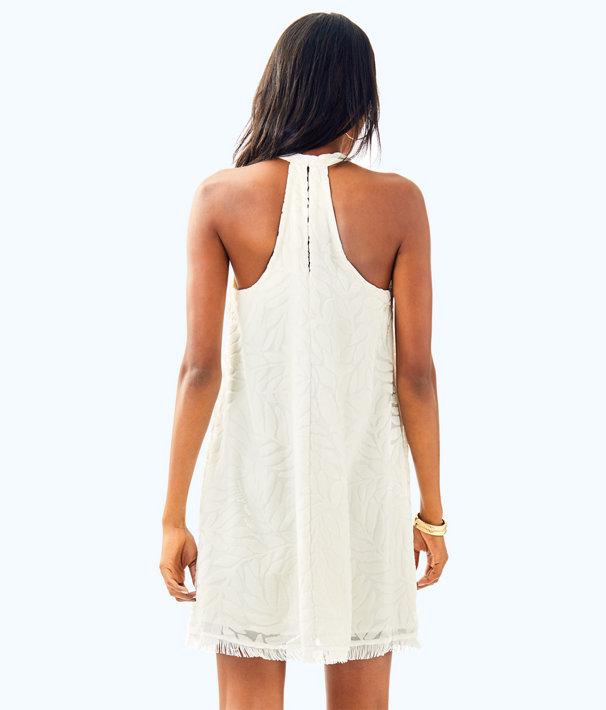 Quinn Swing Dress, Resort White Leafy Fern Velvet Burnout, large