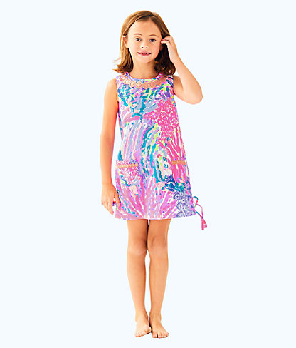 Girls Little Lilly Classic Shift Dress, Multi Rainbow Soleil, large