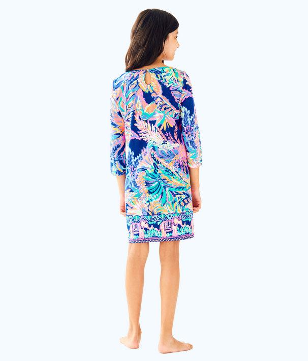 Girls Little Bay Dress, Multi Sunset Safari Engineered Little Bay, large