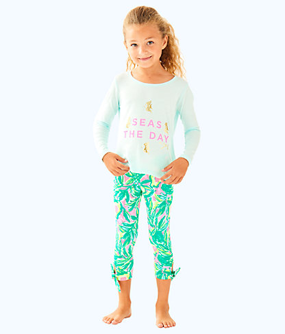 Girls Kay Top, Pink Sunset Seas The Day Graphic Kids, large
