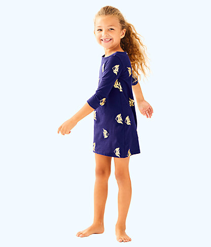 Girls Little Bay Dress, True Navy Reel It In Allover, large