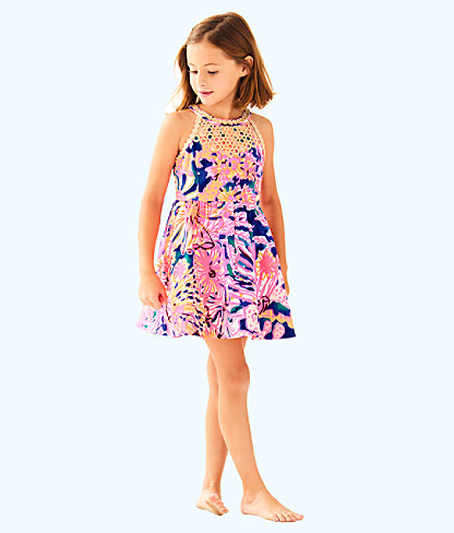 Girls Kinley Dress, Multi Swirling Seadream, large