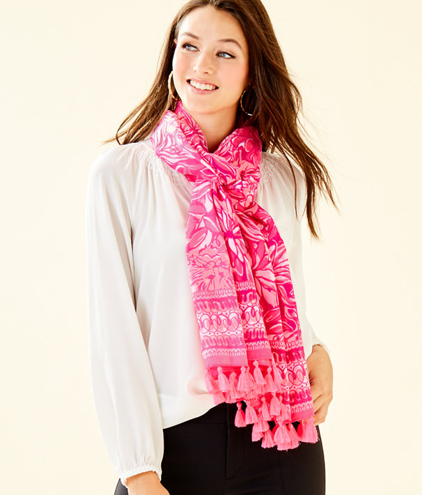 Resort Scarf, Bougainvillea Pink Pawsitive Cattitude Wrap, large