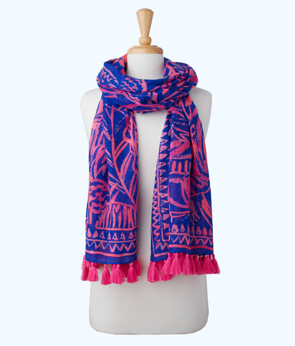 Resort Scarf, Pink Sunset Stan Still Engineered Wrap, large