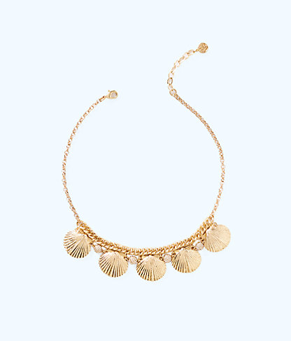 Sea Fan Necklace, Gold Metallic, large