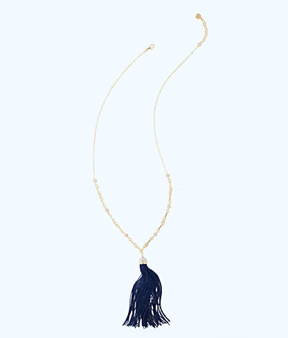 Midnight Tassel Necklace, True Navy, large