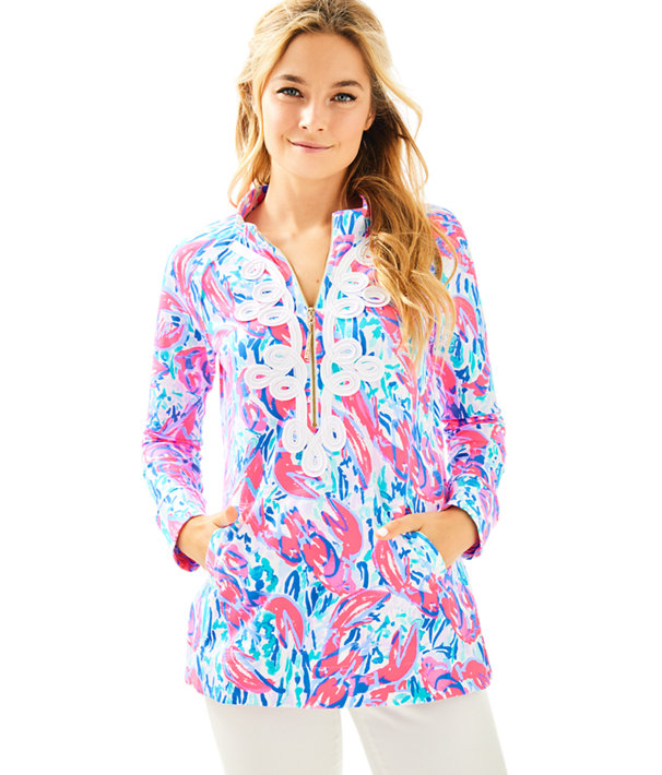 UPF 50+ Skipper Tunic Popover, Cosmic Coral Cracked Up, large