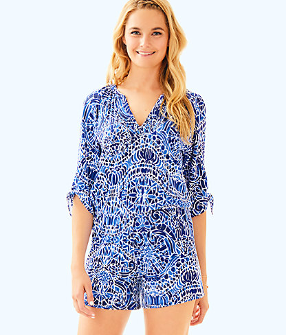 Bryce Romper, Bright Navy Taverna Tile Allover, large