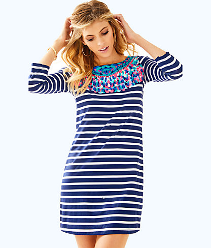 Bay Dress, Bright Navy Island Medallion Stripe Eng Dress, large
