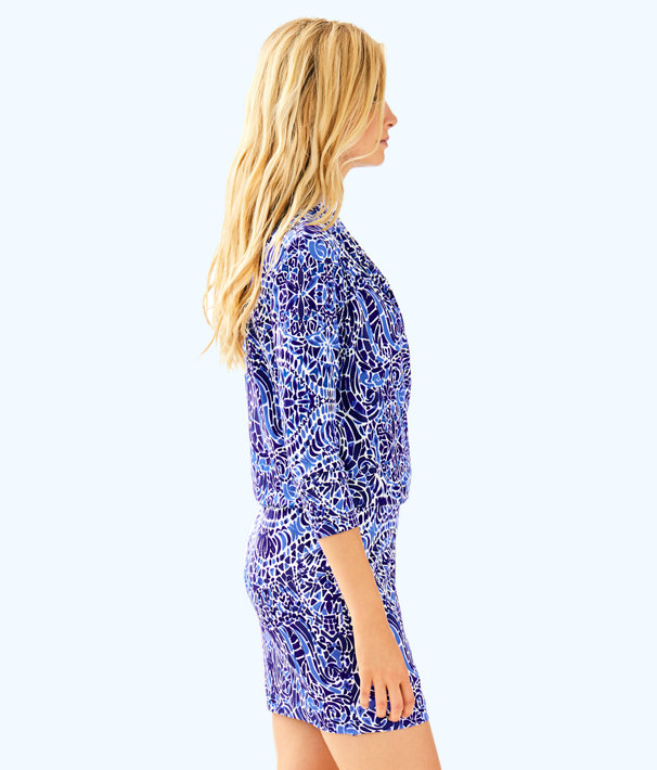 Felizia Silk Dress, Bright Navy Taverna Tile Allover, large