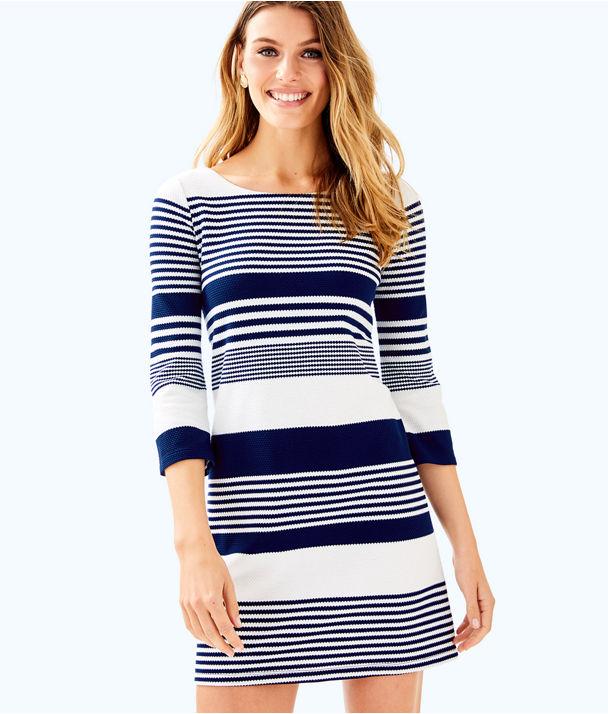 Bay Dress, True Navy Coconut Stripe Jacquard, large