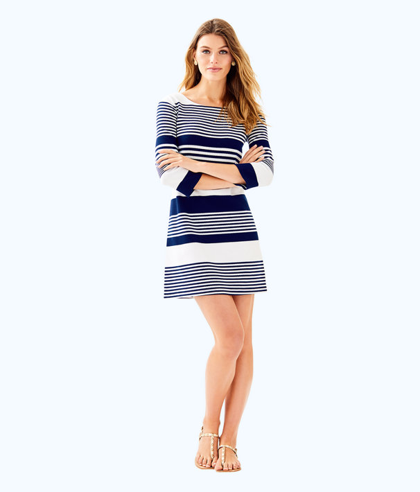 Bay Dress, True Navy Coconut Stripe Jacquard, large