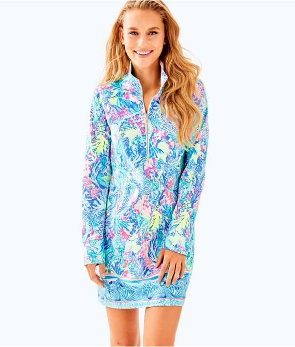 UPF 50+ Skipper Printed Popover Dress, Multi Mermaids Cove Engineered Skipper Dress, large