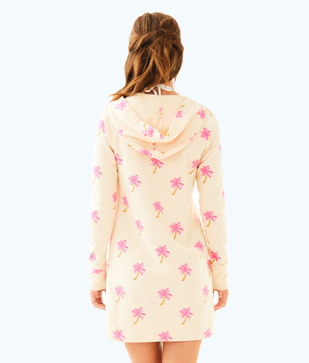 UPF 50+ Hooded Skipper Popover Dress, Colony Coral Heathered Tropical Palm, large