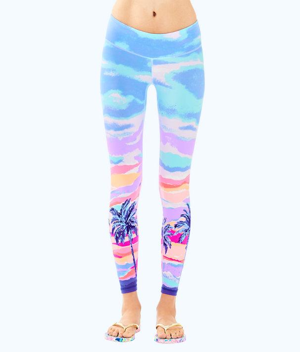 "UPF 50+ Luxletic 26"" Weekender Legging, Pink Sunset Palm Sunset Engineered Pants, large"