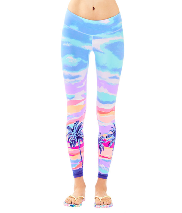 "UPF 50+ Luxletic 26"" Weekender Legging, Pink Sunset Palm Sunset Engineered Pants, large"
