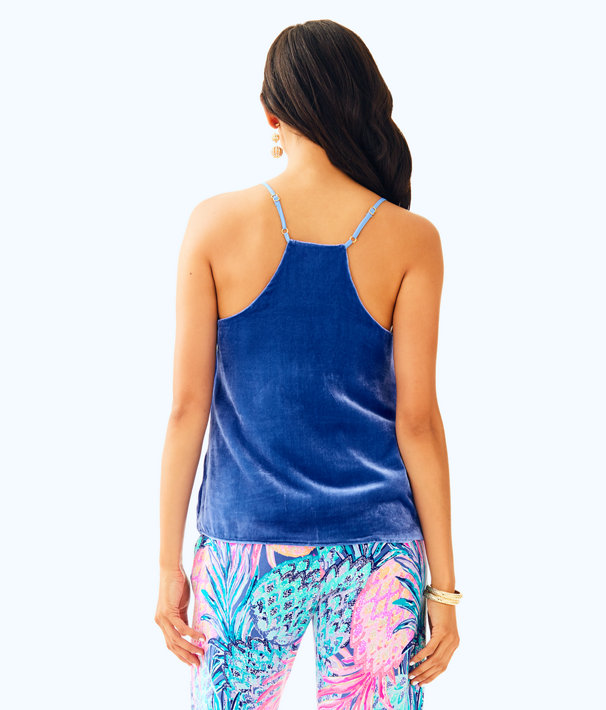 Dusk Racerback Velvet Top, Beckon Blue, large