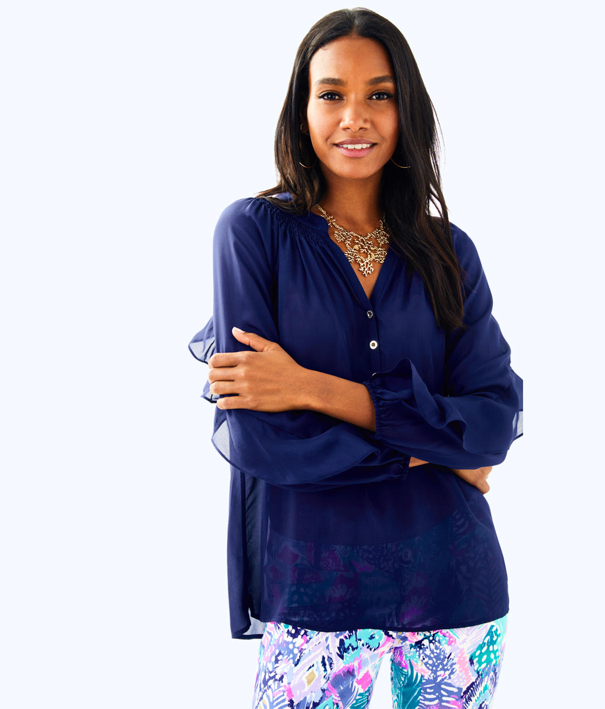 Lilly Pulitzer Elsa Silk Ruffle Top