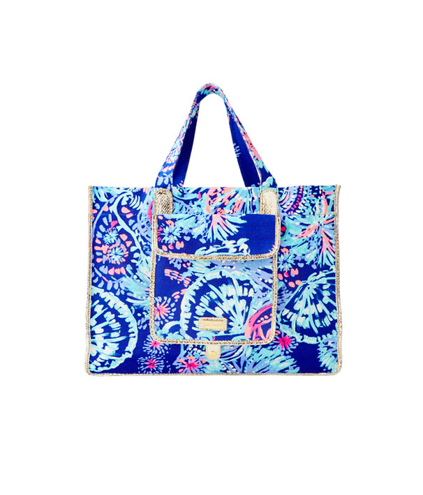 Sunbathers Foldable Beach Tote Bag, Twilight Blue Gypsea Girl, large